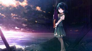 Preview wallpaper girl, sad, sky, sea, debris, sunset