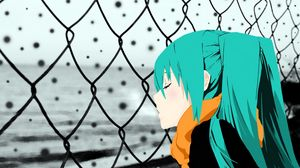 Preview wallpaper girl, sadness, scarf, fence, look