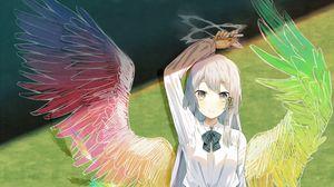 Preview wallpaper girl, schoolgirl, board, wings, anime, art, cartoon