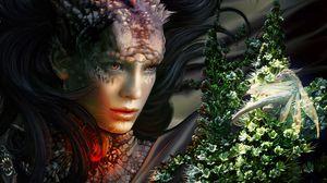 Preview wallpaper girl, sight, dragon, monster