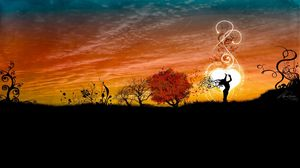Preview wallpaper girl, silhouette, image, dance, nature