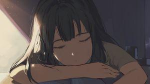Preview wallpaper girl, sleep, study, anime