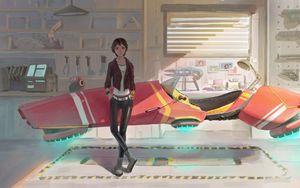 Preview wallpaper girl, spaceship, fantasy, anime