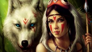 Preview wallpaper girl, spear, warrior, wolf
