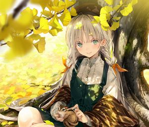 Preview wallpaper girl, squirrel, tree, leaves, branches, anime, art