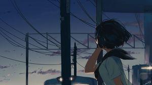 Preview wallpaper girl, station, twilight, free, anime, art