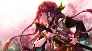 Preview wallpaper girl, sword, warrior, anime
