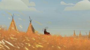 Preview wallpaper girl, tradition, outfit, wigwams, art