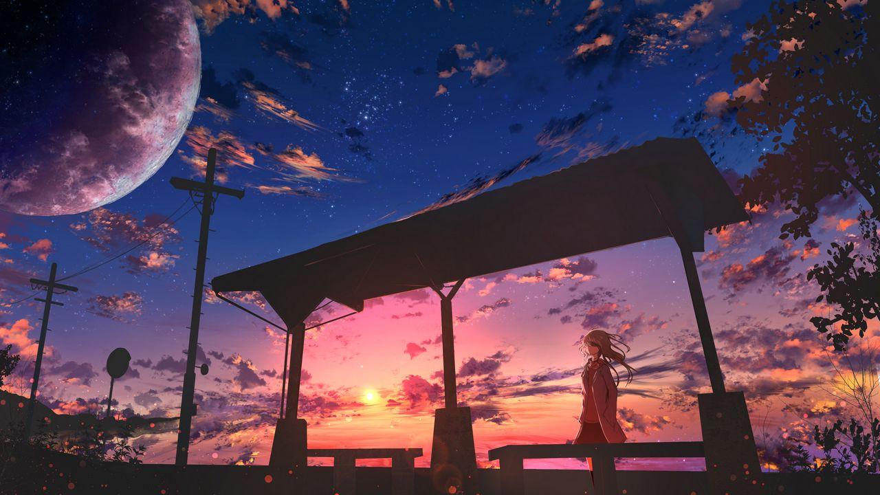 Wallpaper girl, twilight, clouds, anime