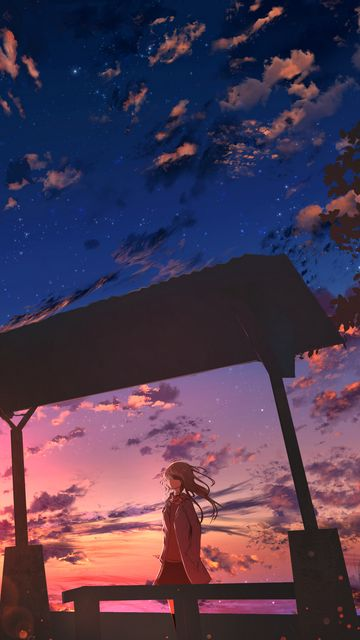 360x640 Wallpaper girl, twilight, clouds, anime