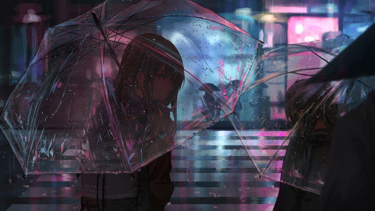 Wallpaper girl, umbrella, anime, rain, street, night