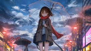 Preview wallpaper girl, umbrella, anime, rain, sadness