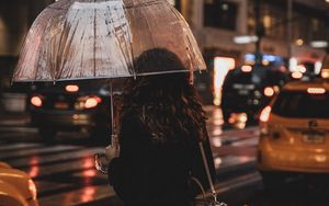 Preview wallpaper girl, umbrella, rain, street, night