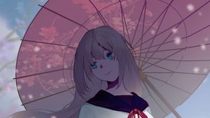 Preview wallpaper girl, umbrella, sakura, anime