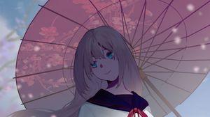 Preview wallpaper girl, umbrella, sakura, anime