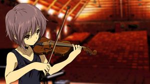 Preview wallpaper girl, violin, bow, music, hall, theater, emptiness, sadness