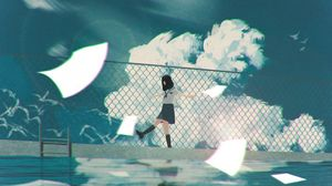 Preview wallpaper girl, walk, anime, clouds, water