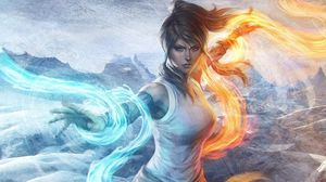 Preview wallpaper girl, water, flames, elements, management