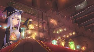 Preview wallpaper girl, witch, hat, lanterns, anime, art