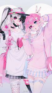Preview wallpaper girlfriends, girls, gestures, anime, cute