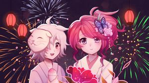 Preview wallpaper girls, flowers, fireworks, anime, art