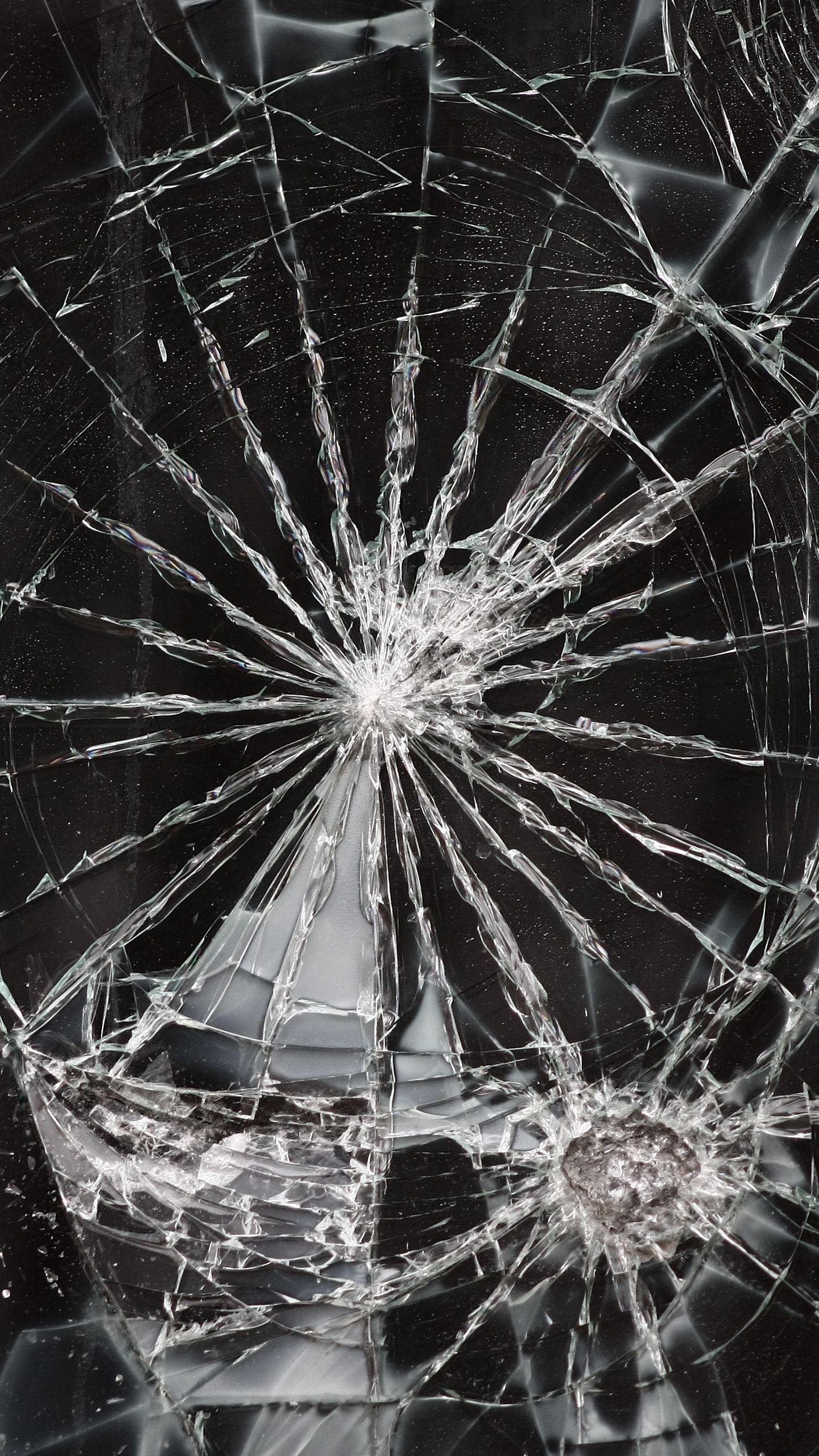 Download Wallpaper 1440x2560 Glass Cracks Splinters Broken Qhd
