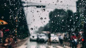 Preview wallpaper glass, drops, rain, moisture, blur, city
