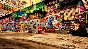 Preview wallpaper graffiti, asphalt, wall