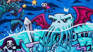 Preview wallpaper graffiti, octopus, street art