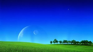 Preview wallpaper grass, greens, field, lawn, sky, planets, space