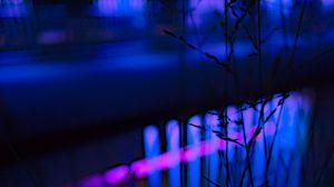 Preview wallpaper grass, neon, light, macro, blur