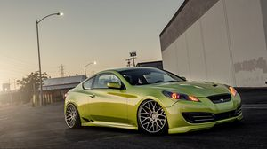Preview wallpaper green, hyundai, stance, genesis
