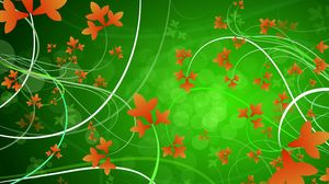 Preview wallpaper green, orange, flowers, patterns, leaves