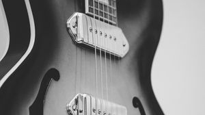 Preview wallpaper guitar, bw, electric guitar, strings