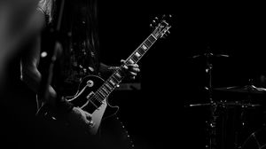 Preview wallpaper guitar, guitarist, bw, musician