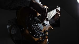 Preview wallpaper guitar, guitarist, musical instrument, strings, bass guitar, dark
