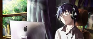 Preview wallpaper guy, anime, computer, tears, sadness, room