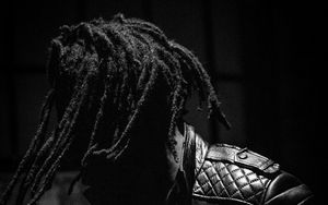 Preview wallpaper guy, dreadlocks, bw, jacket, dark