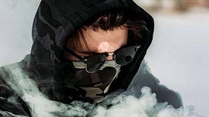 Preview wallpaper boy, mask, smoke, glasses, hood