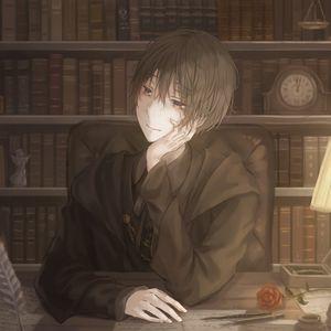Preview wallpaper guy, writer, books, anime, art