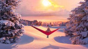 Preview wallpaper hammock, winter, solitude, relaxation, landscape