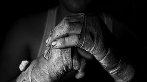 Preview wallpaper hand, fighter, bandages, bw