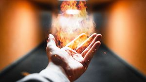 Preview wallpaper hand, fire, flame, sparks, magic