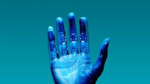 Preview wallpaper hand, robot, cyborg, palm, fingers