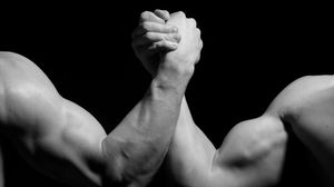 Preview wallpaper hands, men, wrestling, biceps, black and white, arm wrestling