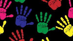 Preview wallpaper hands, prints, art, multi-colored