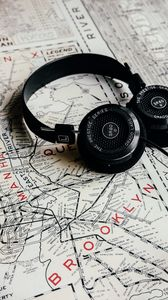 Preview wallpaper headphones, map, travel, music, audio