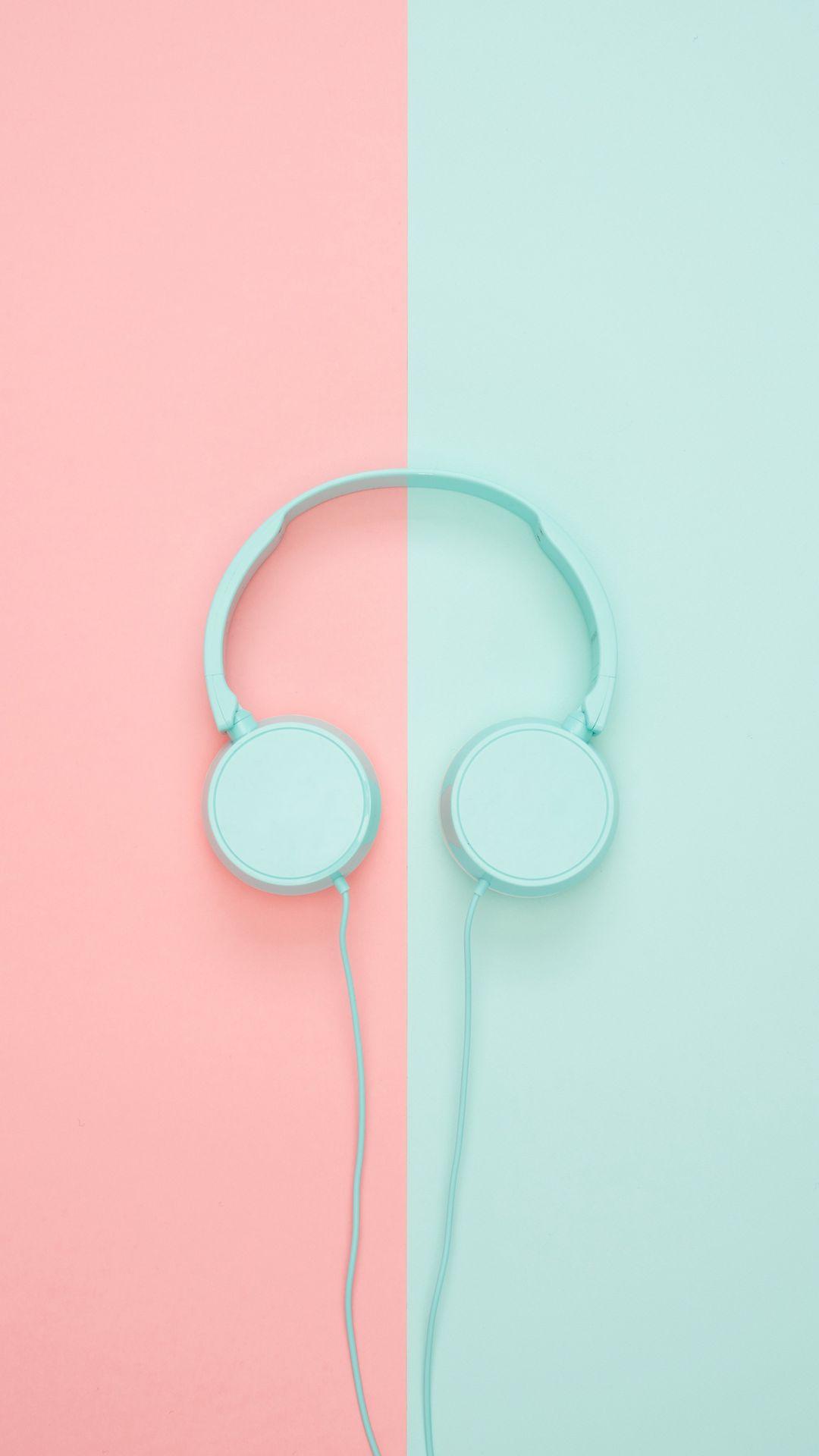 1080x1920 Wallpaper headphones, minimalism, pastel, pink