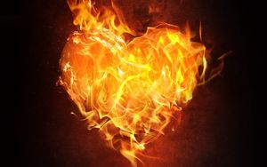 Preview wallpaper heart, fire, flame, dark