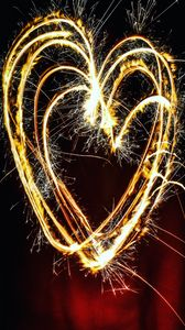 Preview wallpaper heart, light, art, sparks